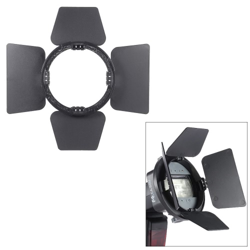 SGA-BD4 Four-leaf Speedlite Flash Light Photography Barndoor Accessory for Nikon Canon Yongnuo Godox Sigma Andoer Neewer Vivitar Speedlight Universal Mount