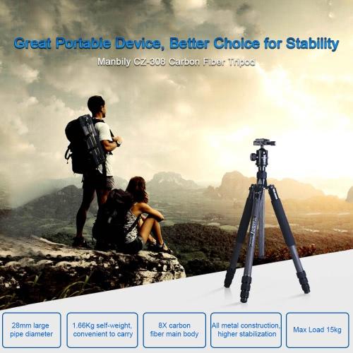 Manbily CZ-308 Professional Portable Carbon Fiber Tripod Kit Large-Diameter 4 Sections DSLR Camera Tripod Includes KF-0 Ball Head Max Load 15kg