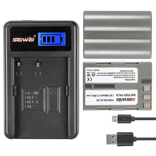 Pack 2 7, 4V 1800mAh batterie de haute capacité Li-ion Rechargeable avec écran LCD USB Chargeur Kit pour Nikon D700 D300 D300S D50 D80 D90 D100 D200 appareil photo remplacement pour Nikon EN-EL3 EN-EL3E