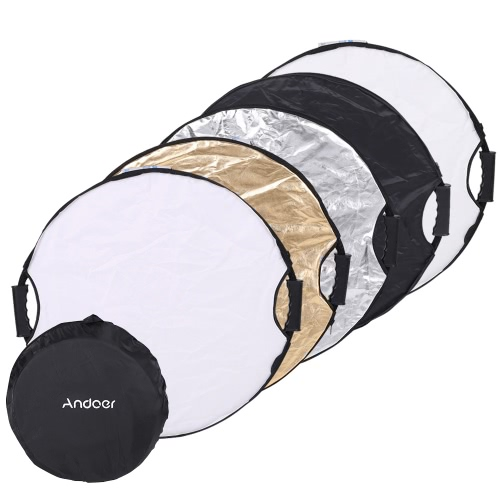 Andoer 110cm 5in1 Round Collapsible Multi-Disc Portable Circular Photo Photography Studio Video Light Reflector