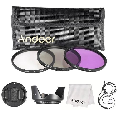 Andoer 72mm filtro Kit (UV + CPL + FLD) + Nylon trasportano copriobiettivo, paraluce + Lens Holder Cap + sacchetto + lente panno di pulizia