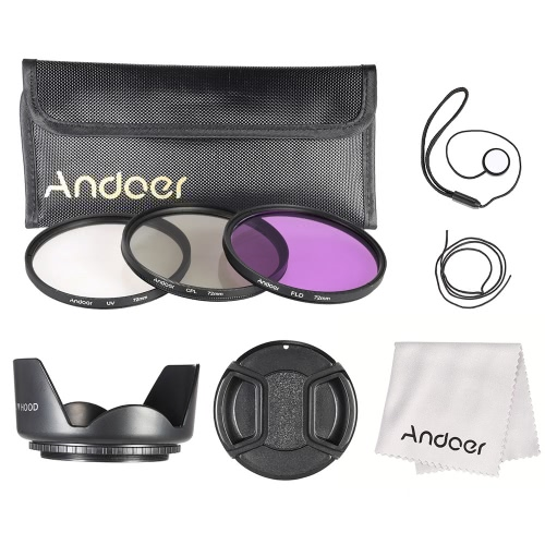 Andoer 72mm Filter Kit (UV+CPL+FLD) + Nylon Carry Pouch + Lens Cap + Lens Cap Holder + Lens Hood + Lens Cleaning Cloth