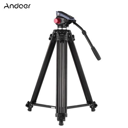 Andoer Profesjonalne stopu aluminium Video Camera Tripod Panorama płyn hydrauliczny Głowa Ballhead do Canon Nikon Sony DSLR Recorder DV Maksymalna wysokość: 67 cale Maks 10kg obciążenia z torba