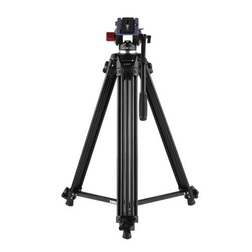 Andoer profesional aluminio aleación cámara trípode Video Panorama cabezal hidráulico Ballhead para Canon Nikon Sony DSLR grabadora DV Max altura 67 pulgadas de carga máxima 10KG con bolsa de transporte