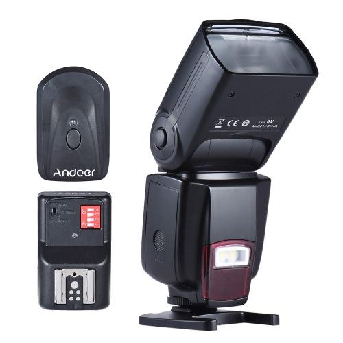 Andoer AD-560ⅡユニバーサルフラッシュスピードライトオンカメラフラッシュGN50調整可能LED / Wがライト+ Andoerユニバーサル16チャンネルラジオワイヤレスリモートスピードライトフラッシュのトリガーを埋めます