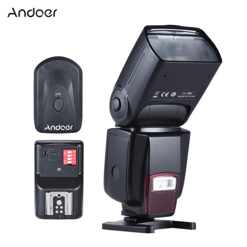 Andoer AD-560Ⅱ Universal Flash Speedlite On-camera Flash GN50 w/ Adjustable LED Fill Light + Andoer Universal 16 Channels Radio Wireless Remote Speedlite Flash Trigger