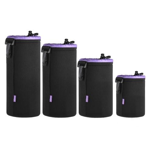 Andoer Odporny na wstrząsy Wodoodporny DSLR Lens Pouch Kit (S + M + L + XL) Extra Thick Miękka torba ochronna Protector Case Zestaw Canon Nikon Sony Tamron obiektyw
