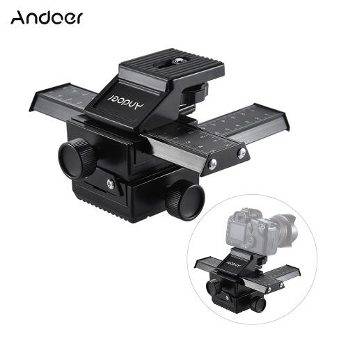 Andoer 4 Way Macro-focus Close-up Shooting Photographie Tripod Head Rail Slider pour Nikon Canon Sony Pentax Olympus Panasonic DSLR Camera
