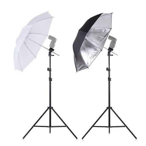 Andoer Off Câmera Flash duplo Flash Suporte de sapatilha Kit de guarda-chuva macio giratório 2 * 2m Stand de luz +2 * 83cm Translucent White Soft Umbrella +2 * 83cm Black & Silver Umbrella +2 * Speedlite Flash Shoe Mount B-Type Brackets +1 saco de transporte para Canon Nikon YONGNUO Neewer Hot Shoe Flash