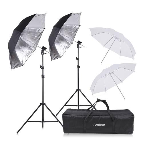 Andoer Off Camera Doppel-Blitzgerät Blitzschuhhalterung Schwenkbarer Soft Umbrella Kit