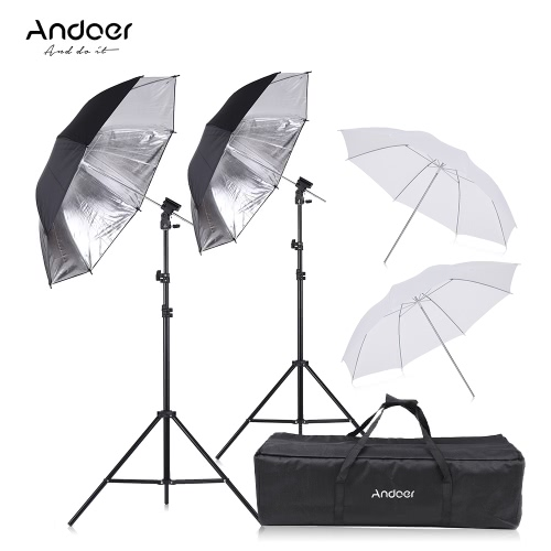 Andoer Off Camera Double Speedlight Flash Shoe Mount Swivel Soft Umbrella Kit 2 * 2m Light Stand +2 * 83cm Translucent White Soft Umbrella +2 * 83cm Black&Silver Umbrella +2 * Speedlite Flash Shoe Mount B-Type Brackets +1 Carrying Bag for Canon Nikon YONGNUO Neewer Hot Shoe Flash