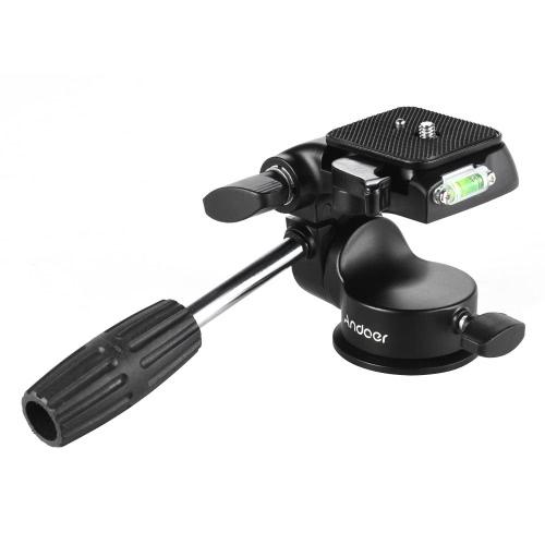 Andoer 3-Dimensional Fluid Drag Kamera Foto-Kopf Aluminiumlegierung Hydraulische Dämpfung Kopf mit Blase Level Griff für Canon Nikon Sony DSLR für Stativ Monopod Slider