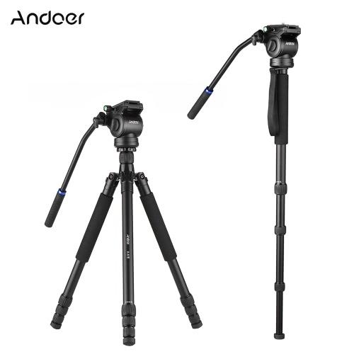 Andoer A-618 180cm / 71インチ多機能カメラ三脚ビデオモノポッド油圧ダンピングヘッドをサポート低角度マクロパノラマ撮影Canon Nikon DSLR for Sony A7 ILDCアルミ合金サポート最大20kg / 44.1Lbs