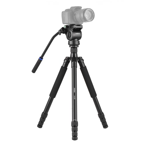 """Andoer A-618 180cm / 71 """"Monopod multifuncional con trípode de cámara con amortiguación hidráulica de la cabeza Macro de ángulo bajo Fotografía panorámica para Canon Nikon DSLR para Sony A7 ILDC Aleación de aluminio Soporte Max. 20kg / 44.1Lbs"""