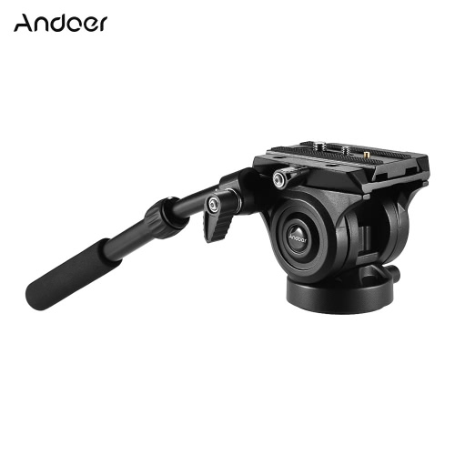 Andoer VH05 Camera Camcorder Tripod Head Fluid Drag Pan/Tilt Head with Quick Release Plate Aluminum Alloy Support 5kg/11Lbs for Canon Nikon Sony A7 Panoramic Photo Video