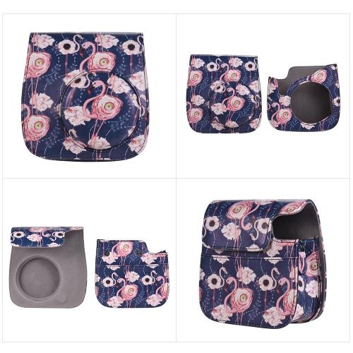 Andoer Custodia per fotocamera con cinturino per Fujifilm Instax Mini 9/8 + / 8s / 8 Flamingo