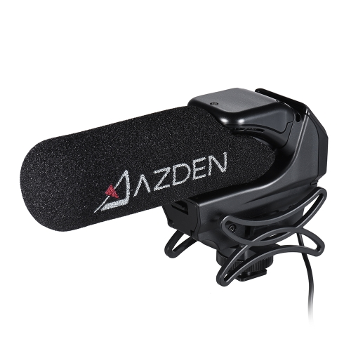 AZDEN SMX-15 Powered Video Microphone Mic Super-Cardioid Polar Pattern with Shock-absorbing Cold Shoe Mount 1/4