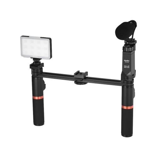 ViewFlex VF-H7 Smartphone Videorekorder Dual-Handheld-Metall-Grip-Stabilisator-Kit mit Fernbedienung / Dimmbare LED-Licht / Mikrofon für iPhone 6 6s Plus für Samsung Galaxy S8 + S8 Hinweis 3 Huawei