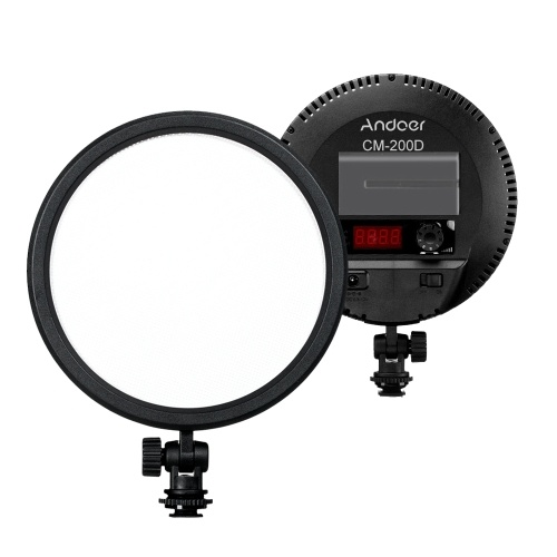 Andoer CM-200D Pro Flapjack LED Borda Luz CRI93 6 polegadas Rodada Ultrathin Daylight 3200K-5600K Bi-color Regulável Painel Luz de Vídeo Foto