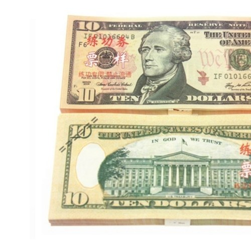 Denomination 10 USD Pack USD Papier Bar Atmosphäre Requisiten Geld für Film TV Video Neuheit Fotografie Werkzeuge (20 Stücke)