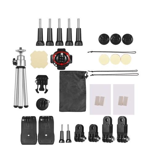 Andoer 32-In-1 Basic Common Action Camera Accessories Kit для GoPro Hero 7/6/5/4 SJCAM / YI Комплект для установки на открытом воздухе для спортивной камеры