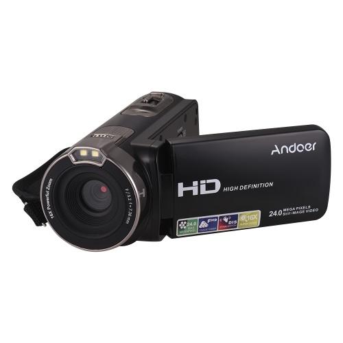 Andoer Fotocamera digitale Full HD 1080P con upgrade per uso domestico DV portatile con schermo LCD rotante da 3,0 pollici Max. 24 megapixel 16 × Zoom digitale