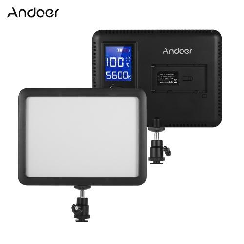 Andoer WY-160C Lampada di riempimento per videoproiettore a LED video 3300K-5600K Dimmerabile di temperatura di colore regolabile con display LCD per videocamera Canon Nikon Sony DSLR