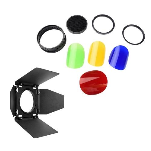 Godox BD08 Kit de filtres de gel pour porte de grange et nid d'abeille et grille de 4 couleurs