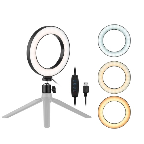 Andoer 6 Inch Desktop LED Ring Light 3200K-5500K Dimmable Mini Camera Light Lamp 3 Light Modes & 10 Brightness Level for YouTube Video Live Streaming Portrait Shooting Makeup Photography