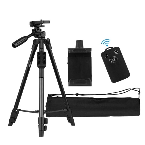 47-inch Lightweight Portable Travel Camera Tripod Stand Compact Aluminum Alloy with Smartphone Holder BT Remote Control Carrying Bag 2kg/4.4lb Load for Canon Nikon Sony DSLR Camera Camcorder for iPhone Samsung Huawei Cellphone