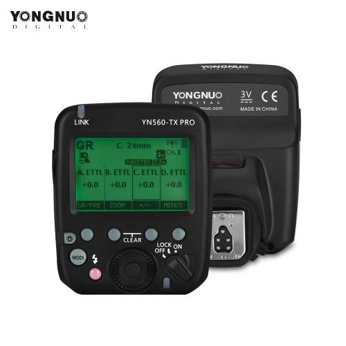 YONGNUO YN560-TX PRO 2.4G On-camera Flash Trigger Speedlite Wireless Transmitter with LCD Screen for Canon DSLR Camera for YN862C/YN968C/YN200/YN560III/YN560IV/YN860Li/YN720/YN660/YN685 Speedlite for YN622CII/RF605 Series/RF603II Series/RF602-RX Receiver