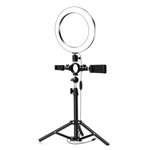 26cm/10inch inch LED Ring Light 3 Colors 3500-6500K Temperature 10 Levels Dimmable with Tripod Phone Holders