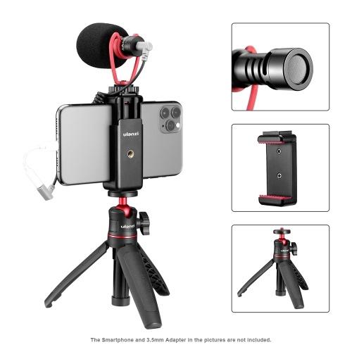ulanzi Smartphone Video Kit 2 with Mini Extendable Desktop Tripod + Adjustable Phone Holder + Video Microphone