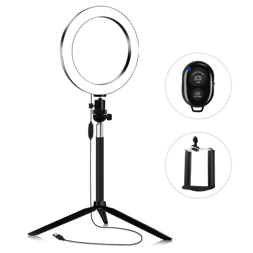 20cm 3200K-5600K Bi-color Dimmable Beauty Light Set Ring Video Light 7W
