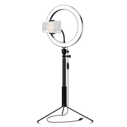 26cm/10 Inch 3200K-5600K Bi-color Dimmable Ring Video Light 12W