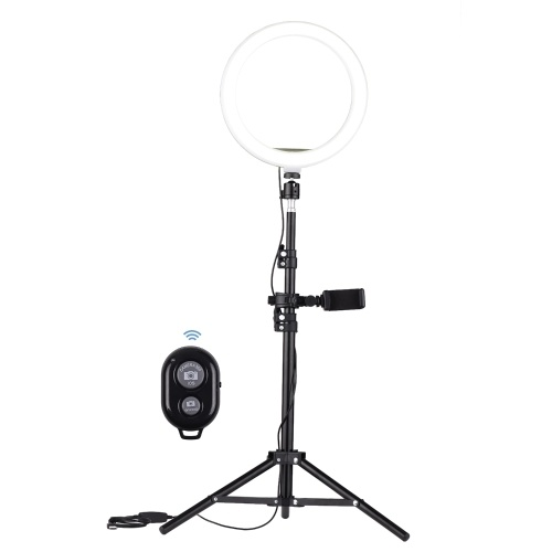 Andoer 10 Inch LED Video Ring Light Photography Lamp 3 Lighting Modes 3200-5600K Dimmable USB Powered with Phone Holder Ballhead Adapter Metal Light Stand Remote Control for YouTube Live Video Recording Network Broadcast Selfie Makeup