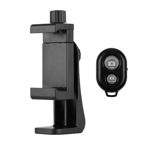 Adjustable Phone Clip + BT Remote Shutter Set Tripod Mount Adapter for Tripod Monopod Selfie Stick Replacement for Android 4.2.2 Or Newer And Ios 6.0 Or Newer