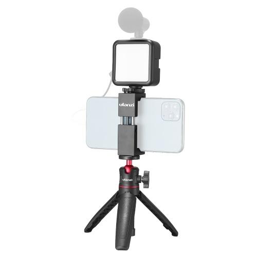 Ulanzi Phone Video Vlog Kit mit Selfie Stick Stativ LED Fill Light Telefonklemmenhalter Universal 1/4 Cold Shoe Mounting