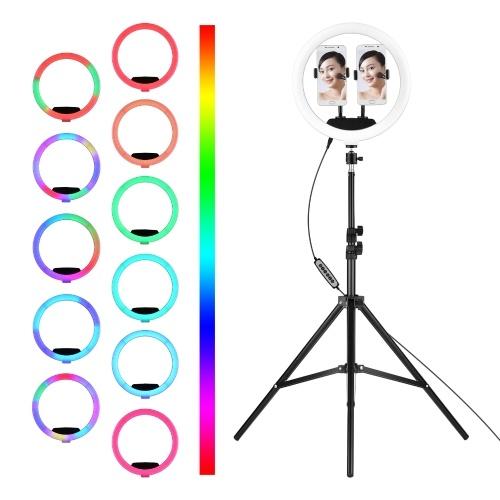 12-Zoll-RGB-LED-Ringlicht Dimmbare Selfie-Kreislampe Füllen Sie das Licht aus