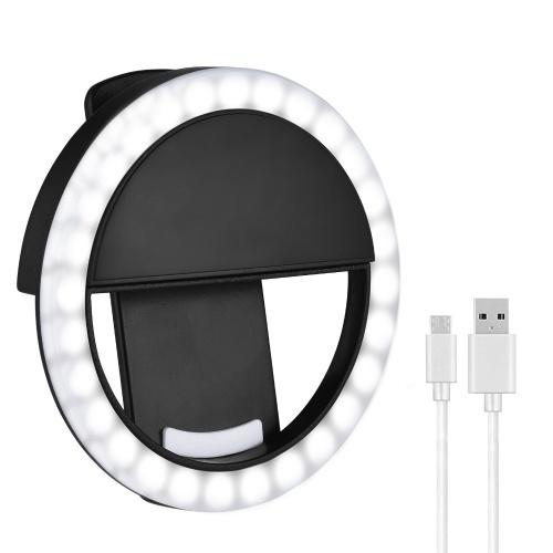 Mini Selfie Ring Light LED Circle Clip-on Ring Light Rechargeable Portable Ring Light