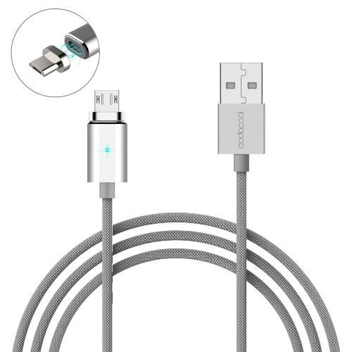 dodocool 3.9ft / 1.2m Detachable Magnetic Micro USB Charge & Sync Cable with LED Indicator Silver