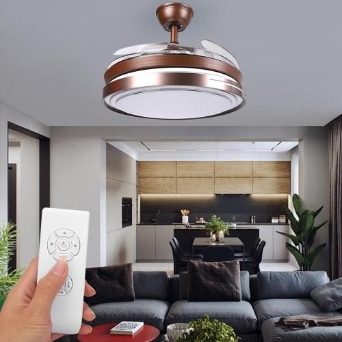 Luces de ventilador con iluminación Luz de techo LED Velocidad de viento ajustable Regulable con control remoto Luz de techo LED moderna