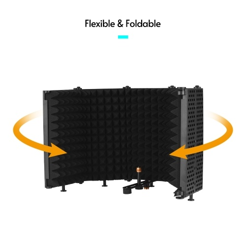 BOYA Foldable Microphone Isolation Shield 5-Panel Mic Soundproof Shield Sound Absorbing Foam Tabletop for Audio Recording Singing Studio