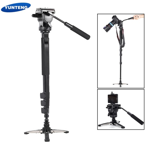 YUNTENG VCT-588 Extendable Telescoping Monopod with Detachable Tripod Stand Base Fluid Drag Head for DSLR Camera Camcorder