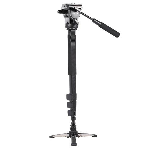 YUNTENG VCT-588 ausziehbar teleskopisch Einbeinstativ mit abnehmbaren Ständer Base Flüssigkeit Drag Stativkopf für DSLR Kamera Camcorder