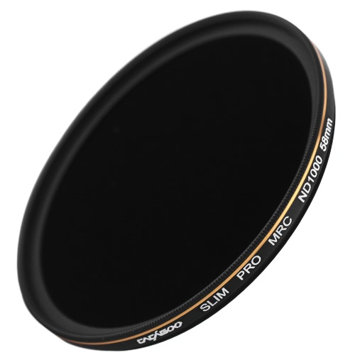 CACAGOO 58mm ND1000 Filter Neutral Density Ultra Slim Multi-Coated Lens Filter 10 Stop Optical Glass for Nikon Canon Olympus Pentax DSLR Camera