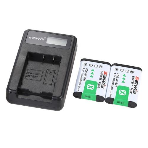 Chargeur portable LED avec Batteries de Lithium Li-ion Rechargeable NP-BX1 2pcs 1450mAh pour Sony DSC série numérique Cybershot appareil photo caméscope
