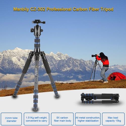 Manbily CZ-302 Profesjonalne Carbon Fiber Tripod Kit 5 sekcji Travel Aparaty i kamery DV Statyw Zawiera KF-0 Ball Głowa Maxa 15kg obciążenia