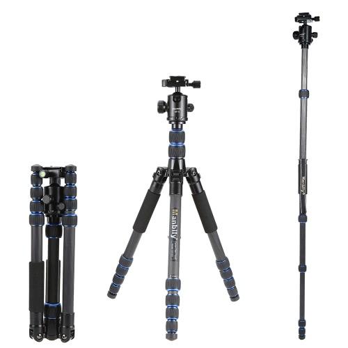 Manbily CZ-302 Professional Carbon Fiber Tripod Kit 5 Sections Travel Camera & DV Tripod Stand Includes KF-0 Ball Head Max Load 15kg