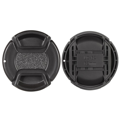 62mm Center Pinch Snap-on Lens Cap Cover Keeper Holder for Canon Nikon Sony Olympus DSLR Camera Camcorder